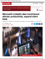 Microsoft-LinkedIn deal could boost adviser productivity, expand client base – IN 6-13-16
