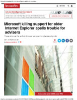 Microsoft killing support for older Internet Explorer spells trouble 1-7-16