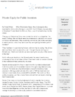 Private Equity for Public Investors – 4-25-16 Analyst Market