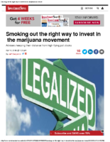 Smoking out the right way to invest in the marijuana movement – Inv News 4-12-16