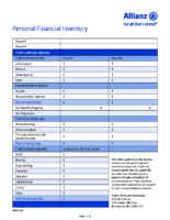 Personal Financial Inventory Worksheet