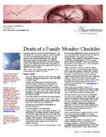 Death of a Family Member Checklist