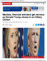 Markets, financial advisers get nervous as Trump closes in on Clinton