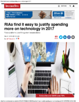 RIAs find it easy to justify spending more on technology in 2017 – Inv News 12-27-16