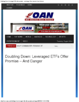 Leveraged ETFs Offer Promise – and Danger – OANN Aug 22 2017