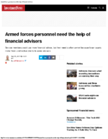 Armed forces personnel need the help of financial advisers – Inv News Sept 30 2017
