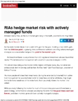 RIAs hedge market risk with actively managed funds – Inv News Dec 28 2017