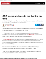 SEC warns advisers to toe the line on fees – Inv News Apr 12 2018