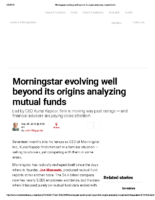 Morningstar evolving well beyond its origins – Inv News May 26 2018