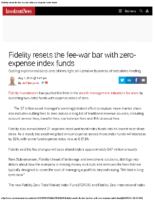 Fidelity resets the fee-war bar with zero-expense index funds – Inv News Aug 1 2018