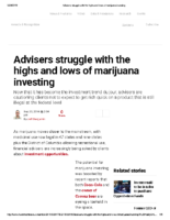 Advisers struggle with the highs and lows of marijuana investing – Inv News Sept 20 2018