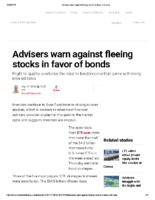 Advisers warn against fleeing stocks in favor of bonds – Inv News Sept 17 2018