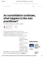 As consolidation continues what happens to the solo practitioner – Inv News Oct 20 2018
