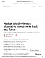 Market volatility brings alternative investments back into focus – Inv News Oct 19 2018