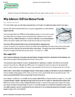Why Advisors Still Use Mutual Funds – Horsesmouth – Oct 11 2018