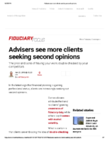 Advisers see more clients seeking second opinions – Inv News Jan 23 2019