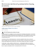 Ask lots of questions before buying an annuity – Chicago Tribune Mar 13 2019