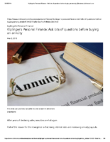 Ask lots of questions before buying an annuity – Richmond Times-Dispatch Mar 9 2019