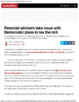 Financial advisers take issue with Democratic plans to tax the rich – Inv News Mar 6 2019