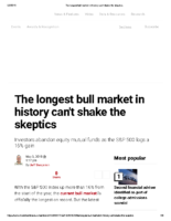 The longest bull market in history can't shake the skeptics – Inv News May 3 2019