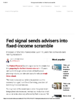 Fed signal sends advisers into fixed-income scramble – Inv News June 21 2019
