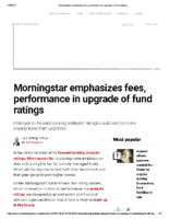 Morningstar emphasizes fees performance in upgrade of fund ratings – Inv News July 8 2019