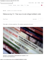 Moneysaving 101 – Four ways to cut college textbook costs – Reuters Aug 21 2019