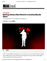 Red Flags Advisors Must Watch for to Avoid Insufferable Clients – RIA Intel Nov 12 2019