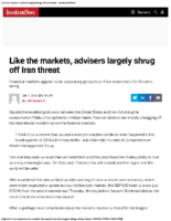 Like the markets, advisers largely shrug off Iran threat – InvestmentNews Jan 7 2020