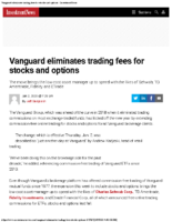 Vanguard eliminates trading fees for stocks and options – InvestmentNews Jan 2 2020