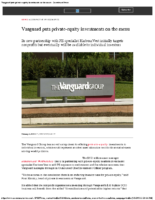 Vanguard puts private-equity investments on the menu – InvestmentNews Feb 5 2020