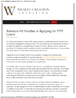 Advisors Hit Hurdles in Applying for PPP Loans – Wealth Creation Investing Apr 8 2020