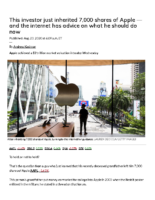 This investor just inherited 7,000 shares of Apple — MarketWatch Aug 23 2020